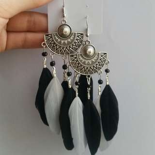 BOHEMIAN EARRINGS with Black and Gray Feathers