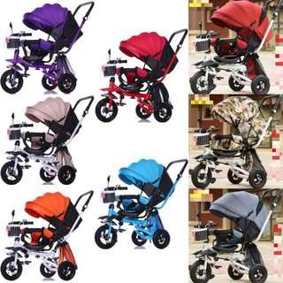 Reversible & Reclinable & Foldable Seat Baby Tricycle/Stroller/Pram/Tikes with Shade for Baby/Kids/Children/Toddler