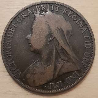1900 Great Britain Queen Victoria Penny Coin