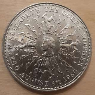 1980 Great Britain Queen Mother 80th Birthday Commemorative Crown Coin