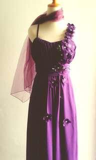 Gaun pesta/ gaun ungu/ baju pesta murah/ long dress/ bridesmaid/ gaun prewed/ party dress/ maxi dress