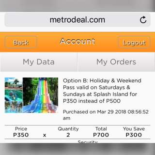 Splash Island Ticket Voucher P500 for 2 on Weekends and Holidays