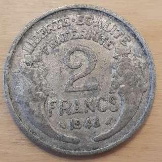 1946 France 2 Francs Coin