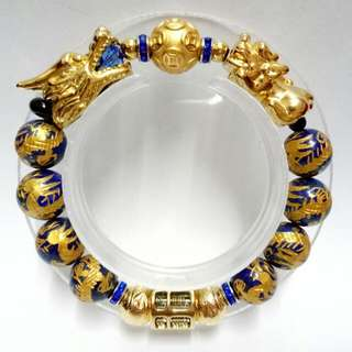 4-In-One Lucky Fortune Charms Bracelet : gold-plated stainless steel Dragon, Abacus, Pixiu Charms and gold-plated 999 Pure Silver Coin Ball charm with dragons Lapis Gemstones(12mm) Bracelet