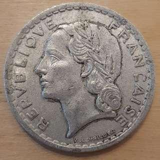 1946 France 5 Franc Coin