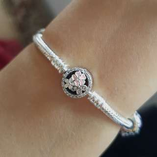 READY STOCK Pandora inspired sterling silver 925 poetic blooms clasp 17cm