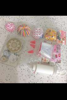 Cupcake Baking Cups And Pastry Bags, And Icing Tube And Nozzles