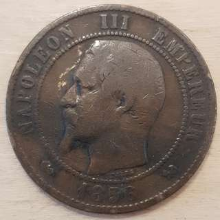 1956 Empire of France Napolean III 10 Centimes Coin
