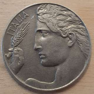 1921 Italy 20 Centimes Coin