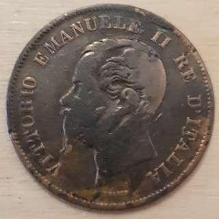 1867 Italy King Vittorio Emanuele II 5 Centesimi Coin
