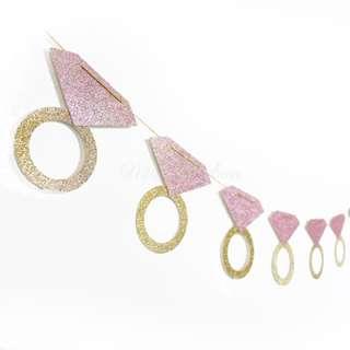 Diamond Ring Bachelorette Blush Pink Glitters Banner