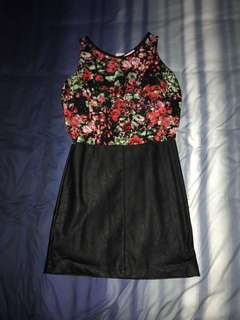 Floral and leather dress