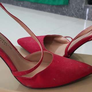 Christian Siriano Red Suede Pumps (3-4 inch heels)