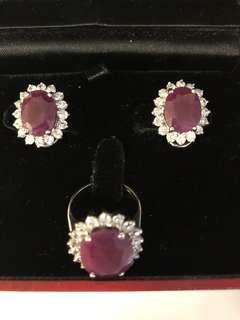 Unpolished Rubies Ring Earring Set