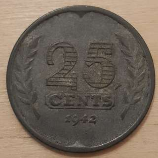 1942 German Occupied Netherlands 25 Cents Coin