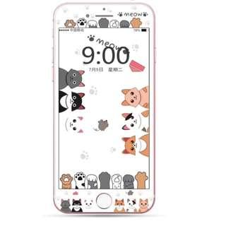 保護膜 IPhone6/7/8/plus : 卡通貓咪粉底納米鋼化前膜