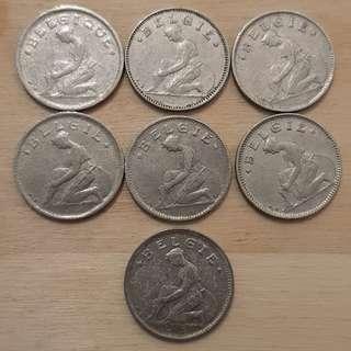 1923 Belgium 50 Centimes Coins
