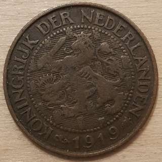 1919 Netherlands 1 Cent Coin