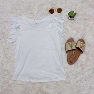 H&M white ruffled blouse