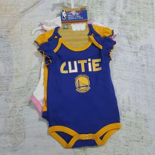 Legit Brand New Without Tags NBA Golden State Warriors Onesies 3 Pieces Creeper Set 0-3 Months