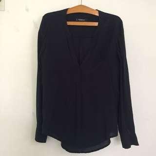 MANGO Navy flowy shirt