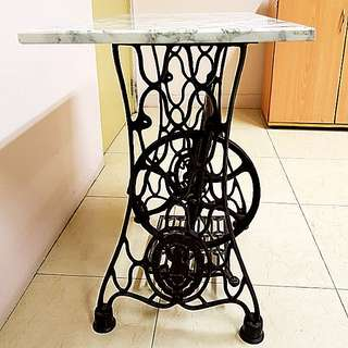 "TableAntique ""Singer Brand"" Spider Design Stand with Genuine Marble table top with Edge  $280"