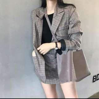 Korean Ulzzang Khaki Checkered Skirt Suit Set