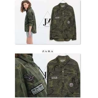 Zara 新款挺版迷彩襯衫 外套 S