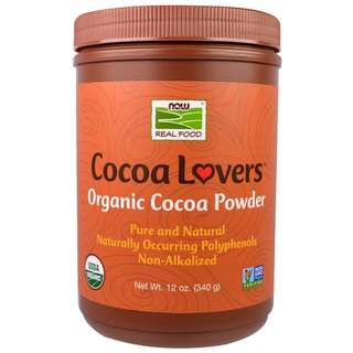 【美國熱銷】Now Cocoa Lovers有機可可粉 香濃滑順 純巧克力粉 防彈咖啡 無 無醣 生酮 烘焙(340克)