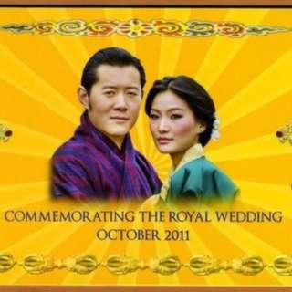 🚚 【藏閣】不丹2011年100-Ngalutm國王結婚紀念紙鈔
