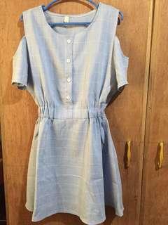 Checkered Sky Blue Dress