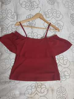 Red Off Shoulder Top Size 6/XS