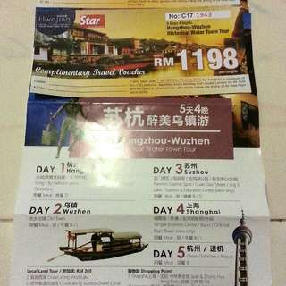 China Hangzhou - Wuzhen 5 Days 4 Nights Voucher for 4 Persons
