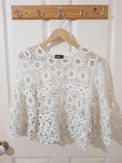 White Crochet Top Size 8/S
