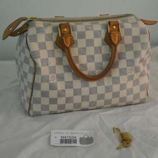 Authentic Louis Vuitton (LV) Speedy 25 Damier Azur