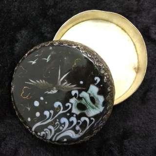 民國銀質化妝鏡盒(描金鳥紋)