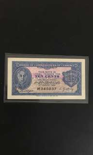 Malaya 10 cents banks notes