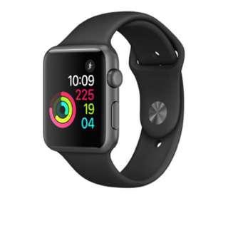Apple Watch 太空灰鋁金屬錶殼配黑色運動錶帶