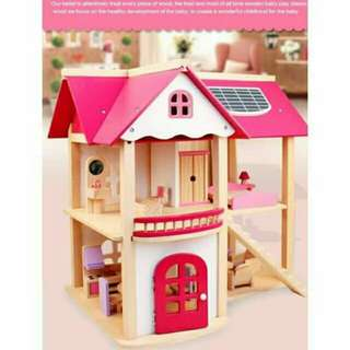 Pink Wooden Doll House