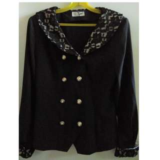 Black long sleeved blouse with elegant lace collar & sleeve cuffs.