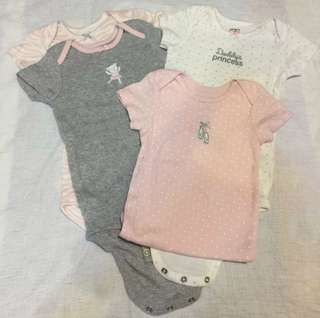 Preloved Carters 12mth Girl Rompers x 4