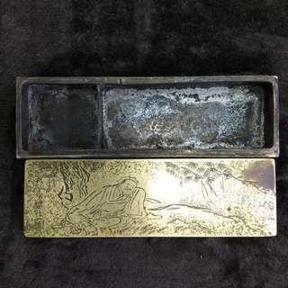 舊銅精工人物印章盒(有款)