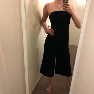 Black Strapless Jumpsuit Wide Leg