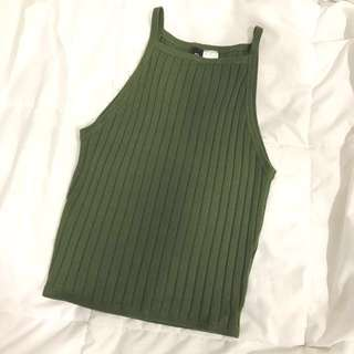 H&M Knit Green Halter Top
