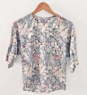 Zara Pastel Floral Top with Copper Buttons