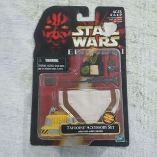 Legit Brand New Sealed Hasbro Star Wars Tatooine Accessory Set With Pull Back Droid Toy Figure