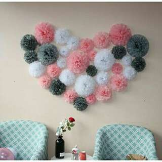 *FREE DELIVERY to WM only / Ready stock* 40pcs Flower pom pom as shown design/color. Free delivery is applied for this item.