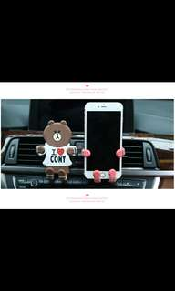 Line character brown car handphone holder