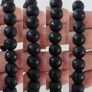 Black Obsidian bracelet(黑曜石) sand blast with Six-Character Great Bright Mantra(六字真言)
