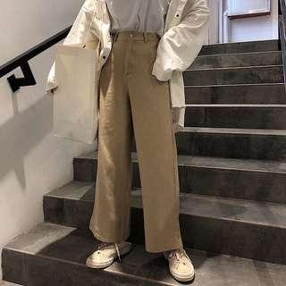 韓國水洗棉百搭高腰卡其色寬褲